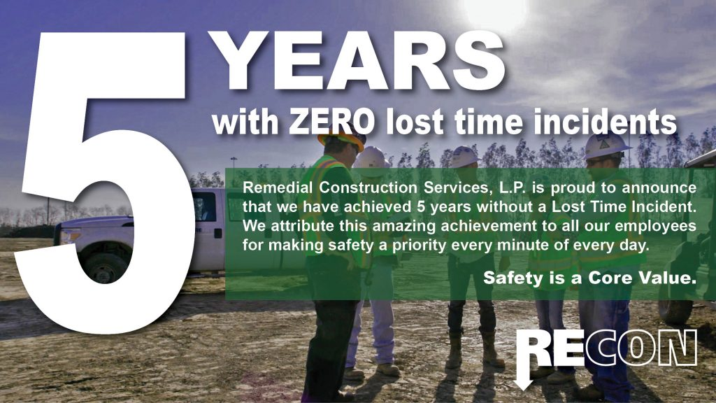 RECON Achieves 5 Years Without a Lost-Time Incident